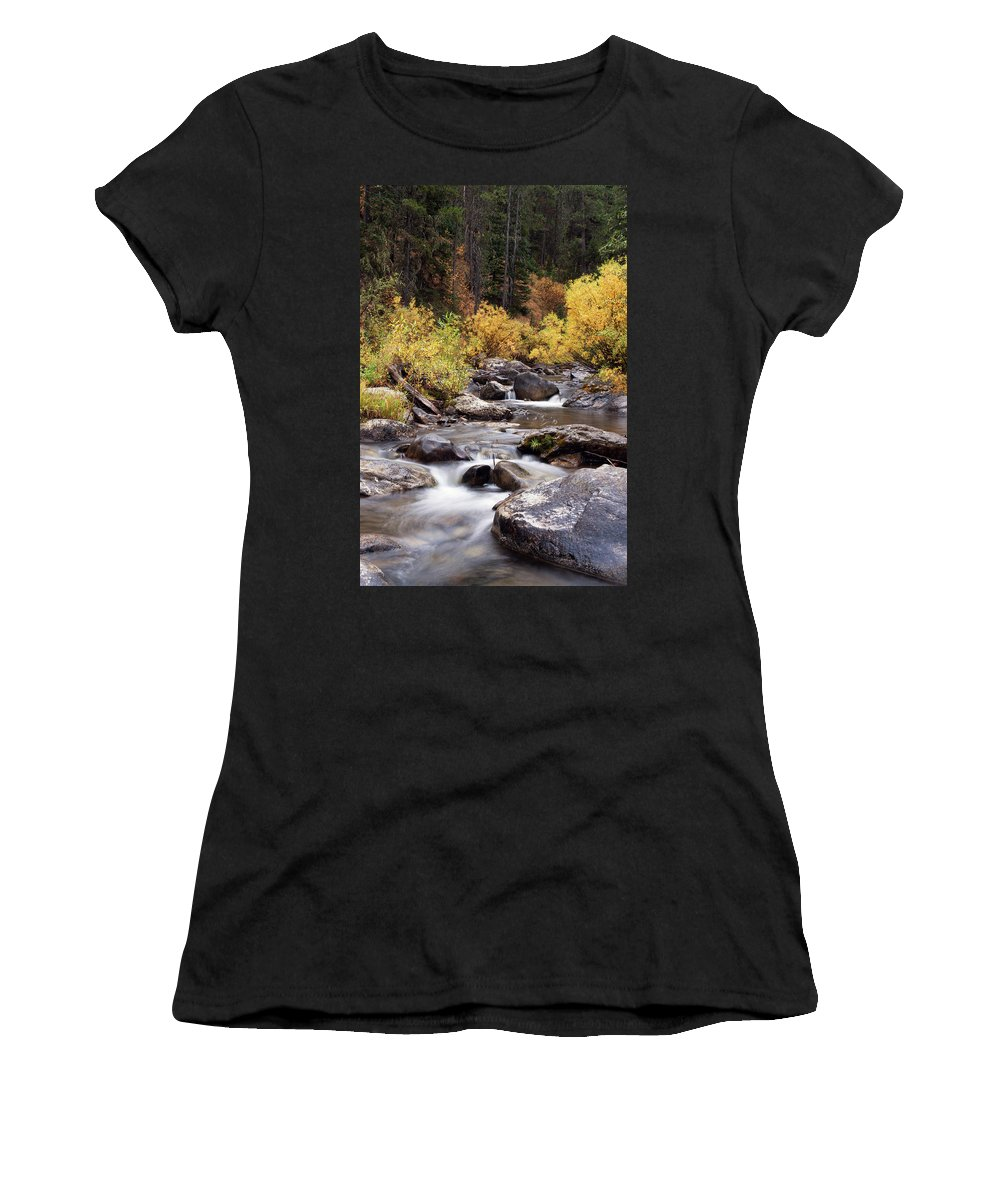 Cindy Archbell Women's T-Shirt featuring the photograph Fall In The Grand Tetons by Cindy Archbell