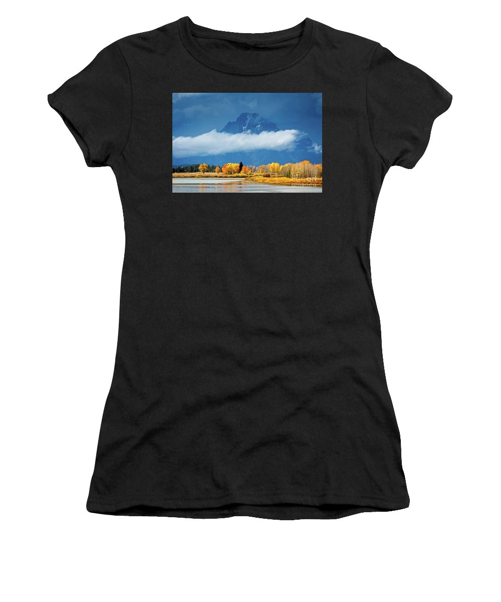 Tetons Women's T-Shirt (Athletic Fit) featuring the photograph Fall At The Oxbow by Todd Bielby