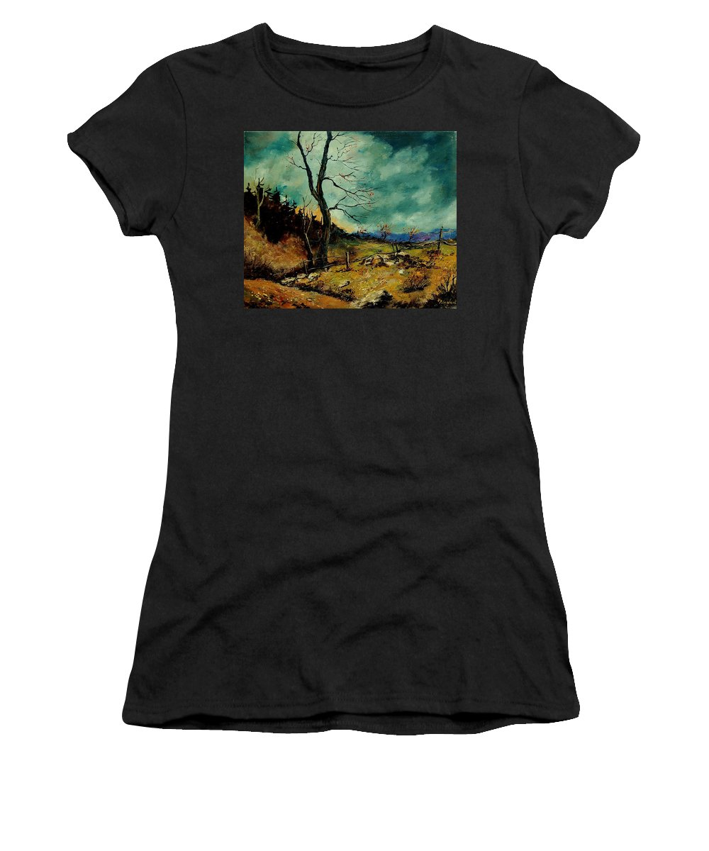 Tree Women's T-Shirt (Athletic Fit) featuring the painting Fall Landscape 56 by Pol Ledent