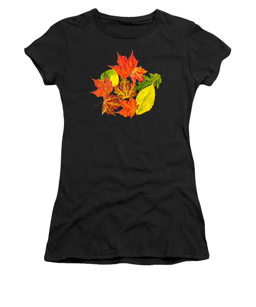 Fall Leaves Women's T-Shirt (Athletic Fit) featuring the mixed media Fall Leaves Pattern by Christina Rollo