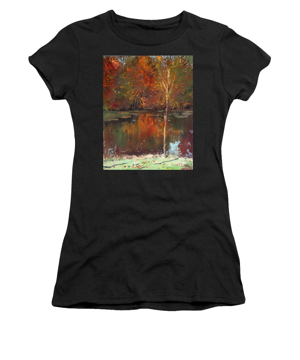 Landscape Women's T-Shirt (Athletic Fit) featuring the painting Fall Reflection by Ylli Haruni