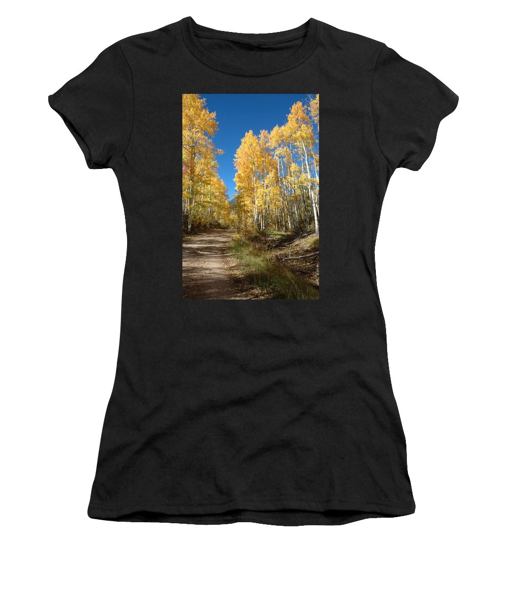 Landscape Women's T-Shirt (Athletic Fit) featuring the photograph Fall Road by Jerry McElroy