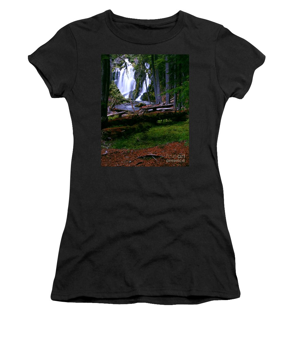 Waterfall Women's T-Shirt (Athletic Fit) featuring the photograph Fall Through by Peter Piatt