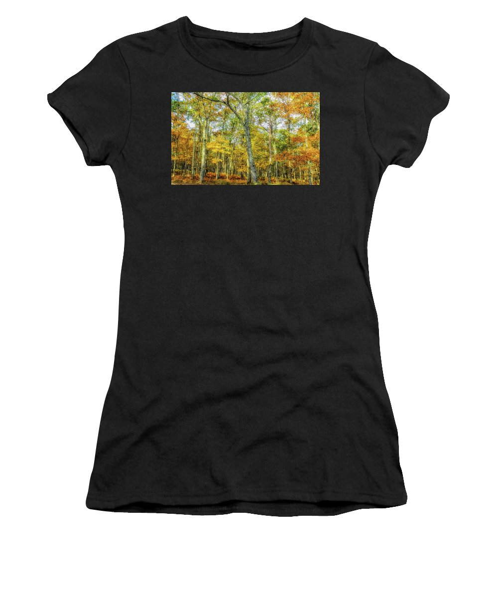 Landscape Women's T-Shirt (Athletic Fit) featuring the photograph Fall Yellow by Joe Shrader