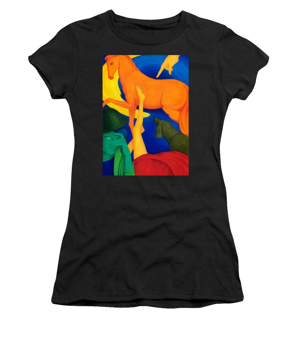 Surreal Women's T-Shirt (Athletic Fit) featuring the painting Falling Down. by Andrzej Pietal