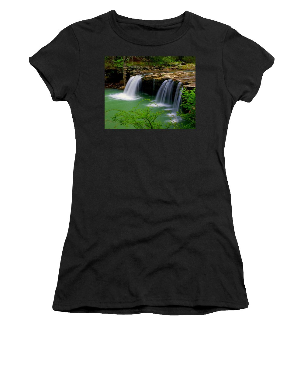 Waterfalls Women's T-Shirt featuring the photograph Falling Water Falls by Marty Koch