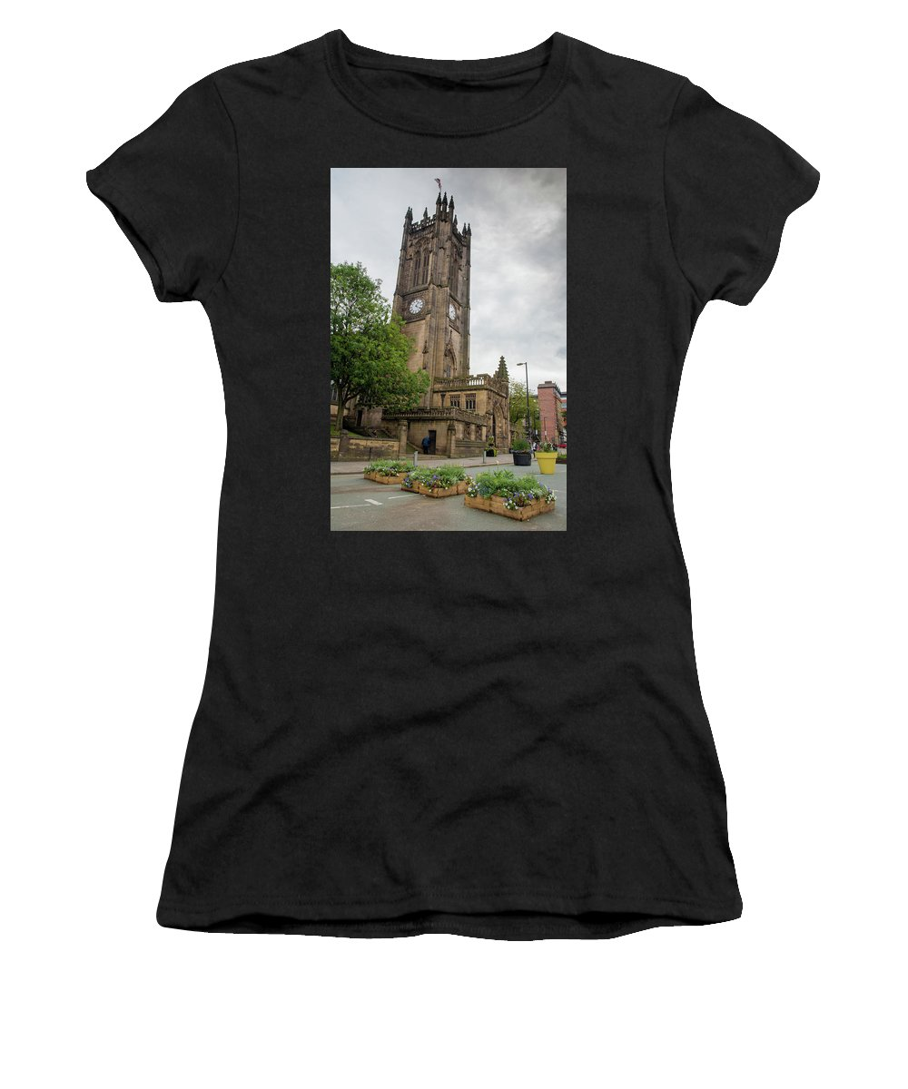 Cathedral Women's T-Shirt (Athletic Fit) featuring the photograph Famous Cathedral Of Manchester City In Uk by Michalakis Ppalis