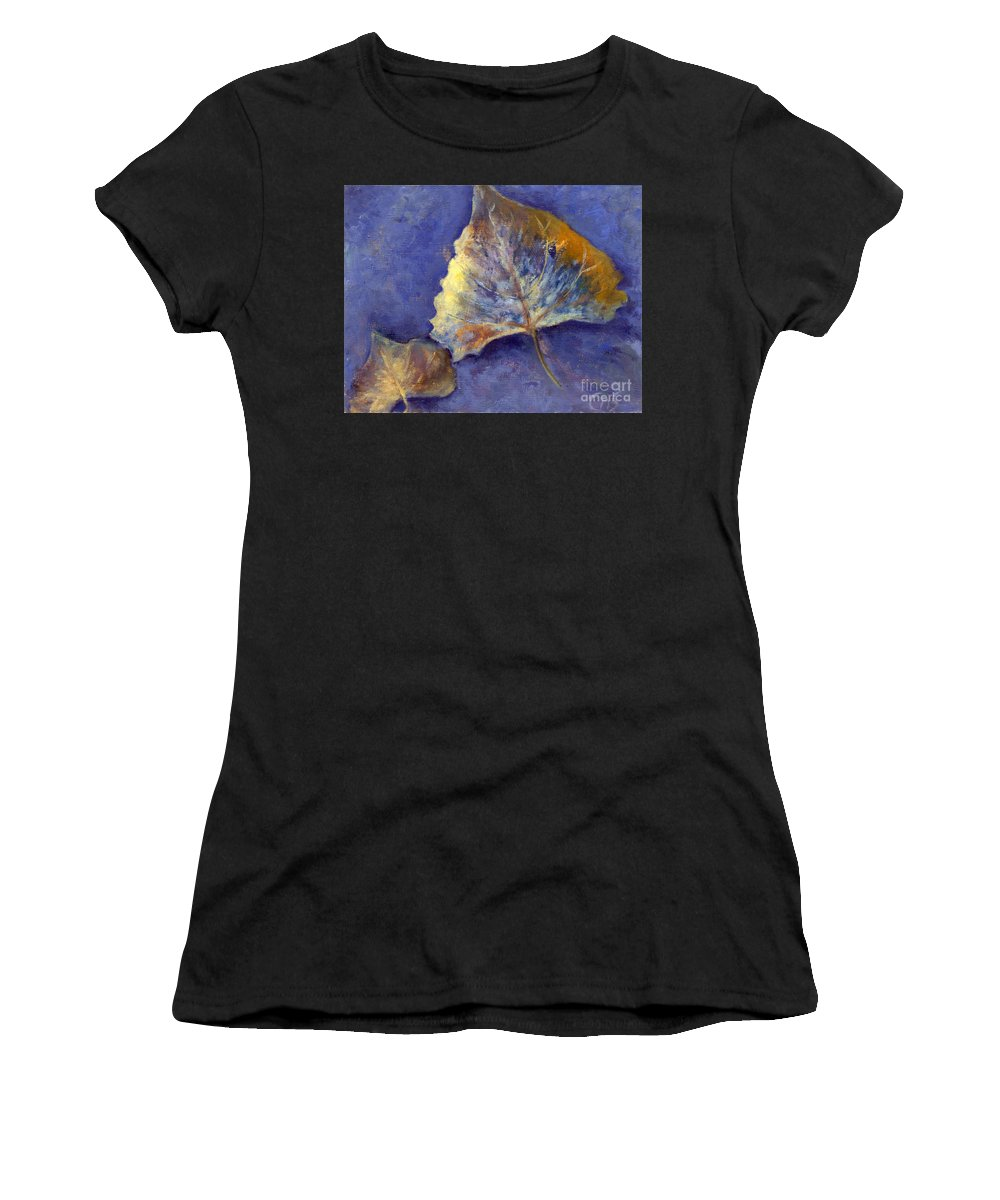 Leaves Women's T-Shirt (Athletic Fit) featuring the painting Fanciful Leaves by Chris Neil Smith