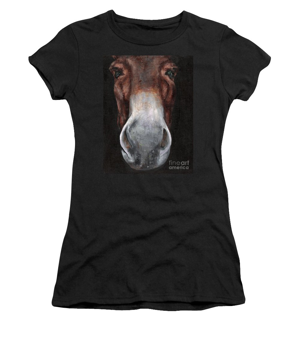 Mule Women's T-Shirt (Athletic Fit) featuring the painting Fannie by Frances Marino