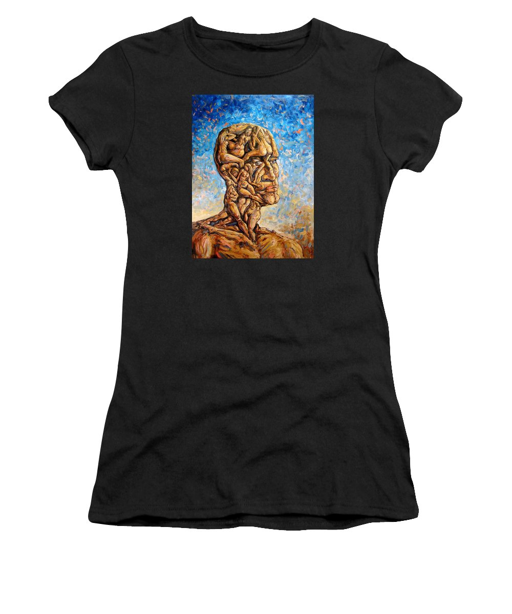 Surrealism Women's T-Shirt (Athletic Fit) featuring the painting Fantasies Of A 120 Years Old Man Struggling To Survive by Darwin Leon