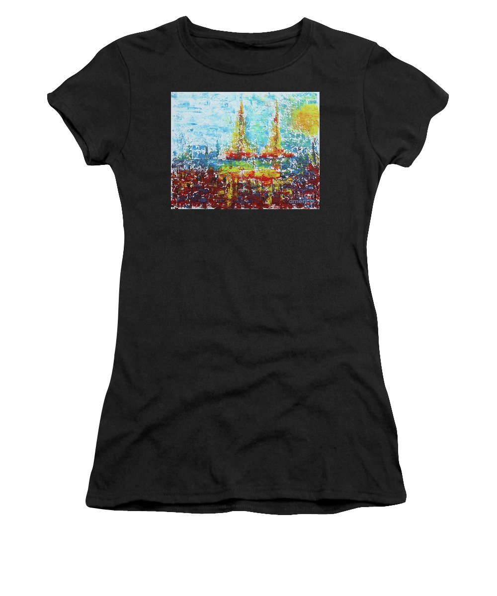 Women's T-Shirt (Athletic Fit) featuring the painting Faraway/sold by Ginka Mitova