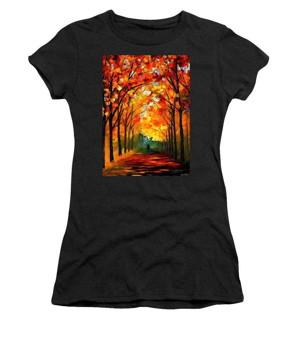 Afremov Women's T-Shirt (Athletic Fit) featuring the painting Farewell To Autumn by Leonid Afremov