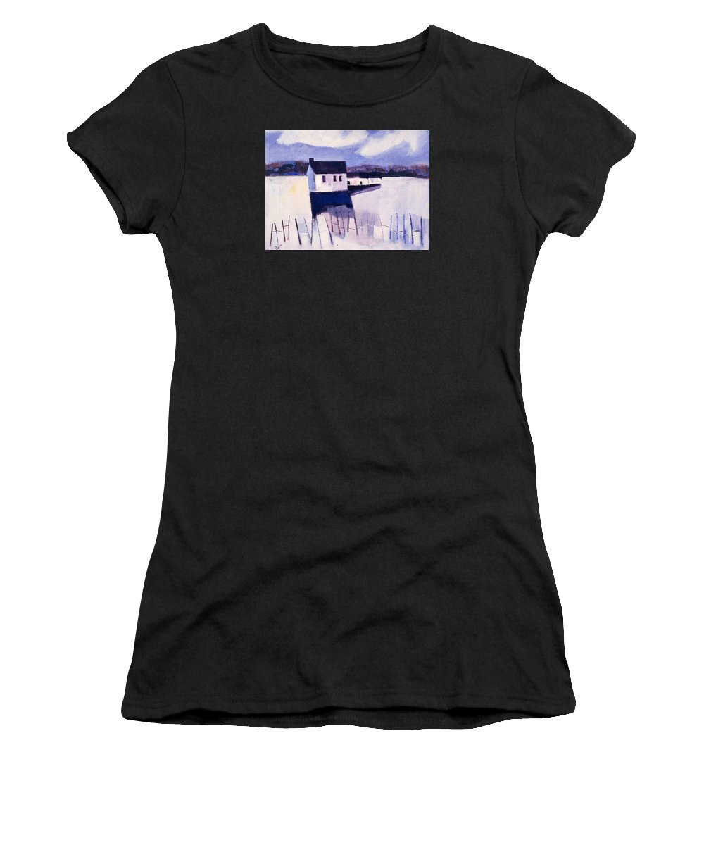 Winter Women's T-Shirt (Athletic Fit) featuring the painting Farmhouse In Winter by Betty Pieper