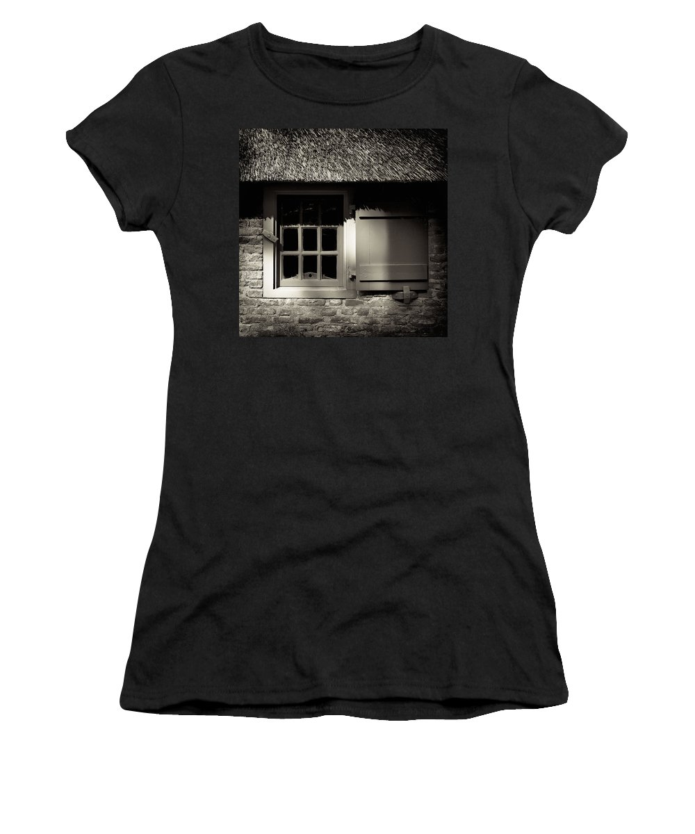 Dutch Women's T-Shirt (Athletic Fit) featuring the photograph Farmhouse Window by Dave Bowman