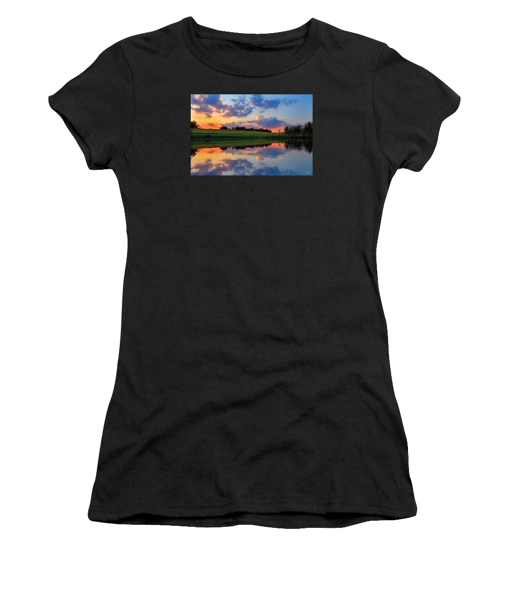 Pond Women's T-Shirt (Athletic Fit) featuring the photograph Farmpond 2 by Sam Davis Johnson