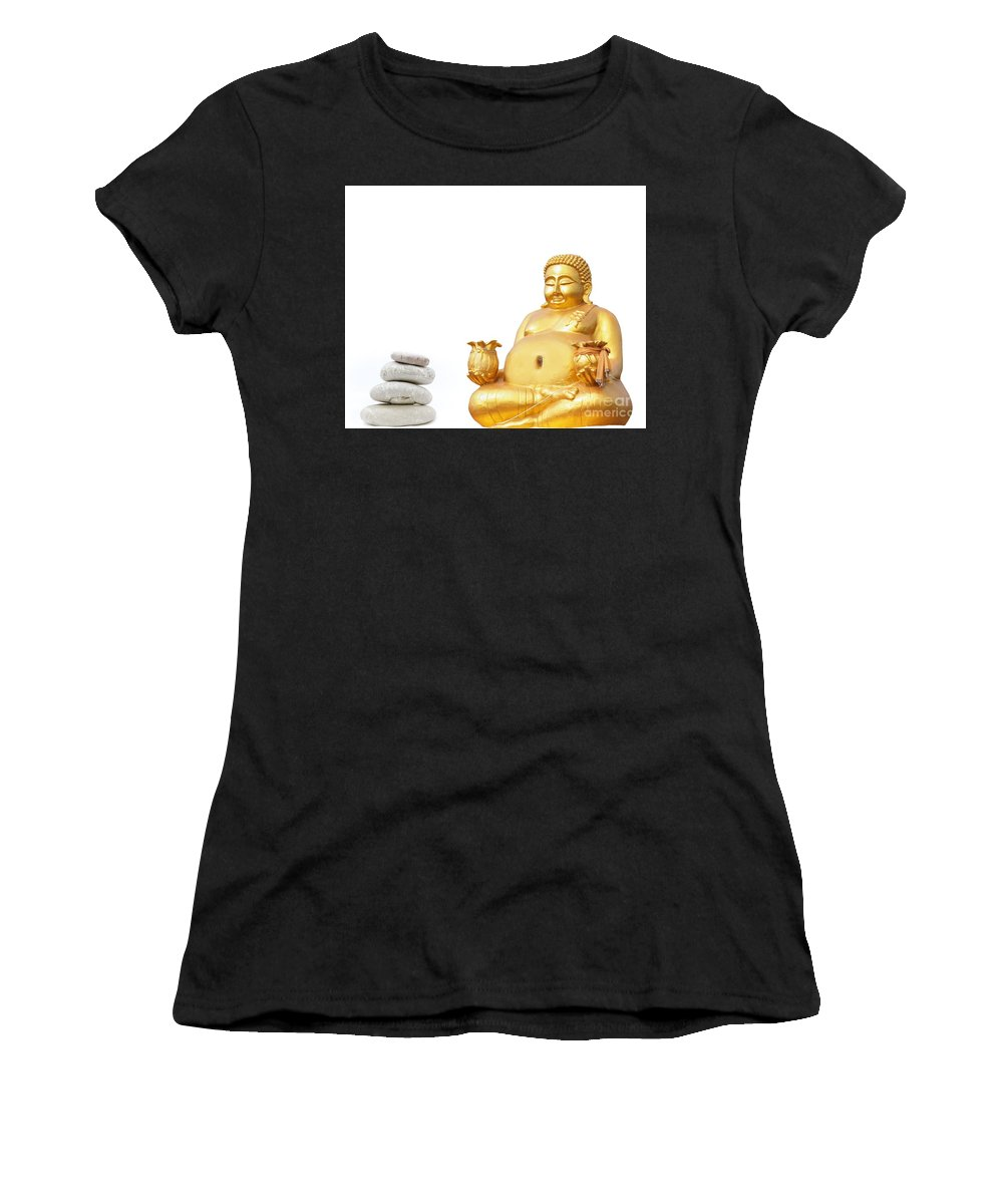 Ascetic Buddha Women's T-Shirt (Athletic Fit) featuring the photograph Fat Happy Buddha In Meditation by Mike Borth