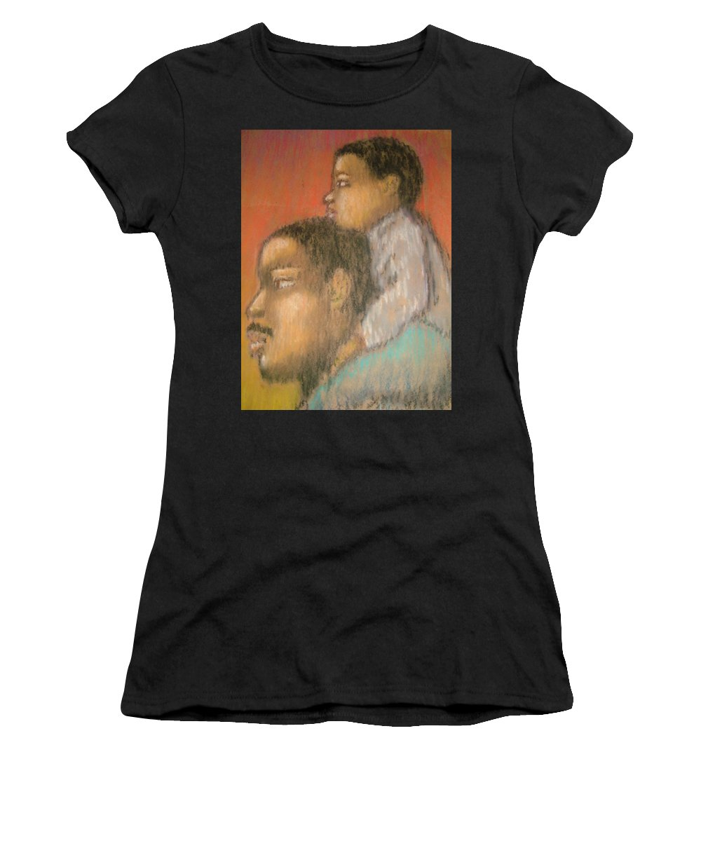 Women's T-Shirt featuring the drawing Father And Son by Jan Gilmore