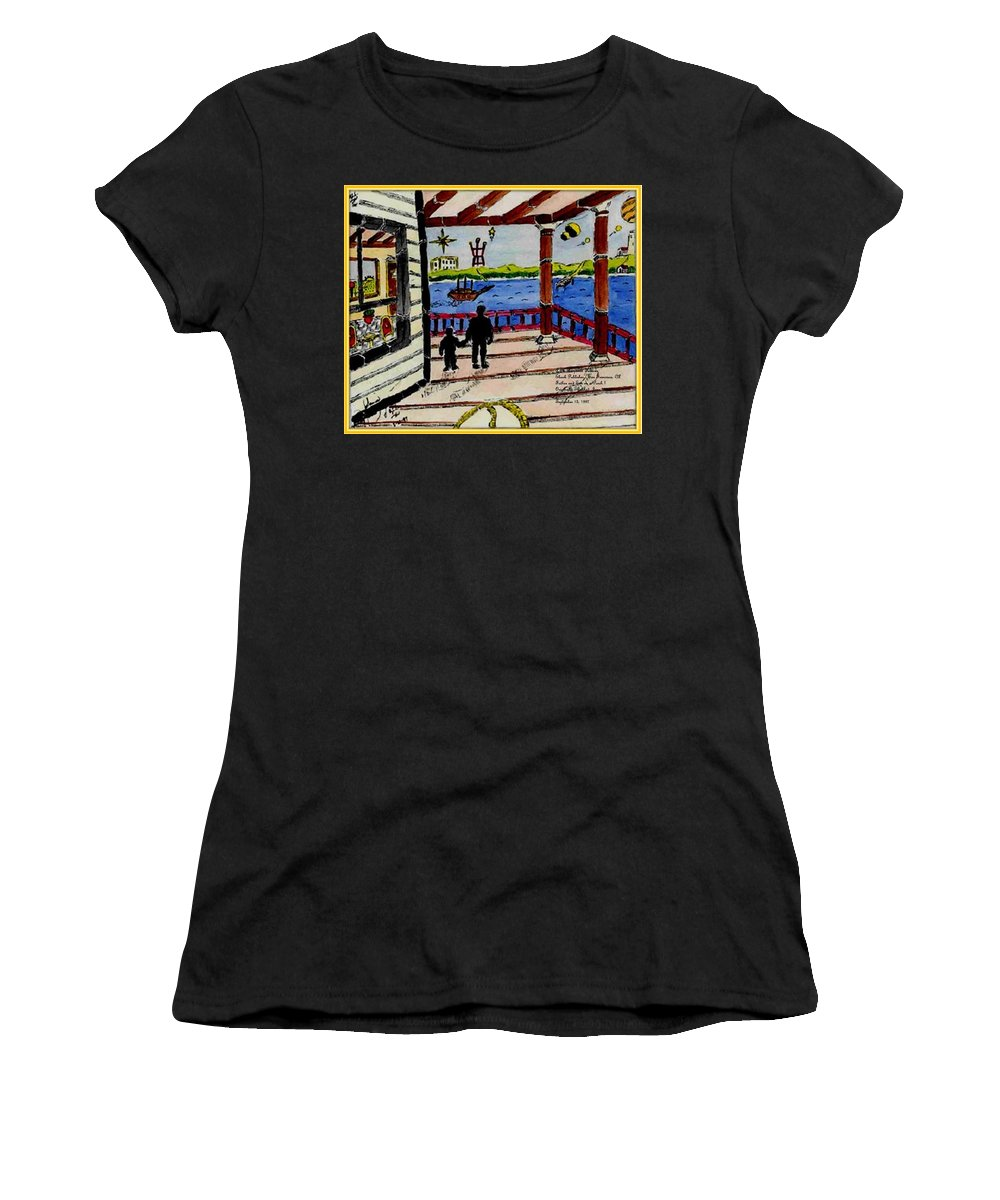 Boy Women's T-Shirt (Athletic Fit) featuring the painting Father And Son On The Porch by Anthony Benjamin