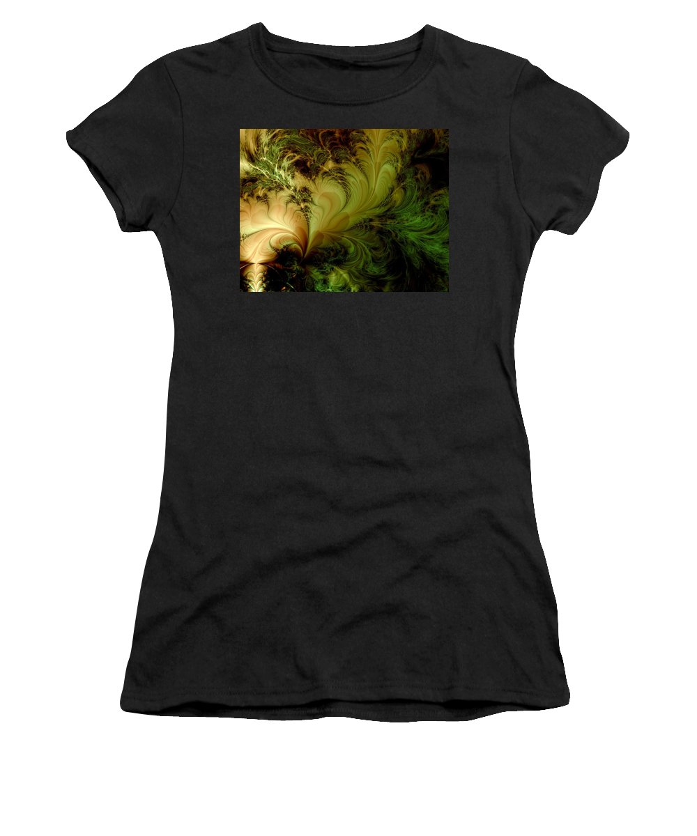 Feather Women's T-Shirt (Athletic Fit) featuring the digital art Feathery Fantasy by Casey Kotas