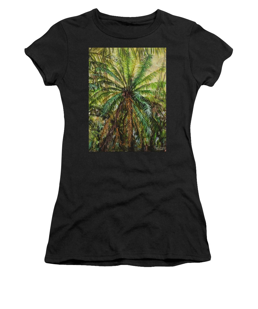 Landscape Women's T-Shirt featuring the painting Federico Palm by Ric Castro