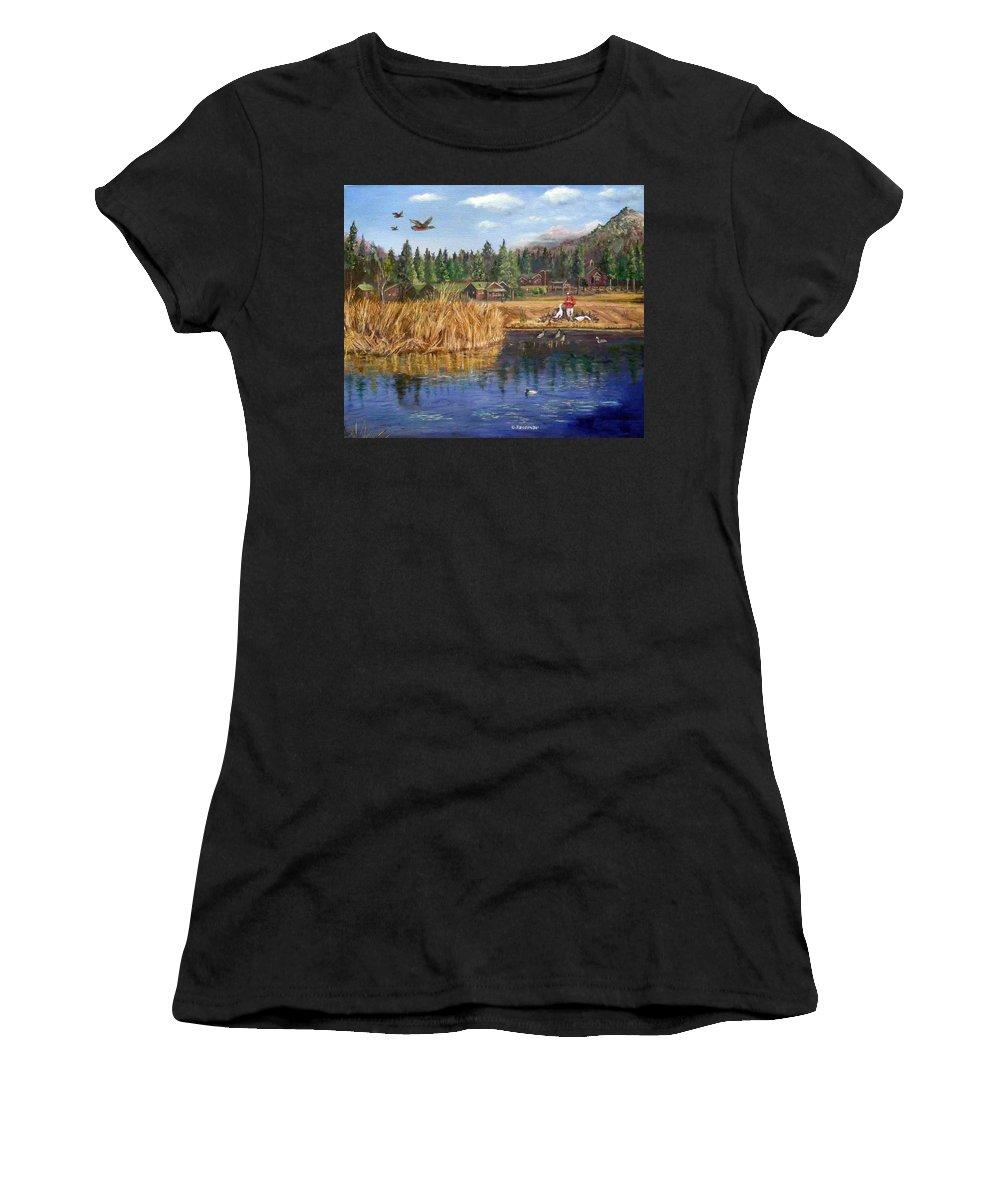 Landscape Women's T-Shirt featuring the painting Feeding The Ducks by Olga Kaczmar