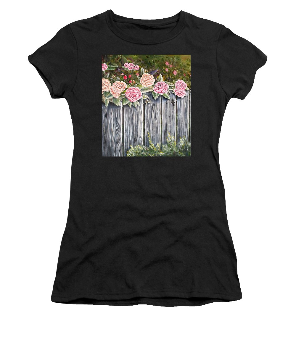 Pink Women's T-Shirt featuring the painting Fence Of Roses by Lisa Cini
