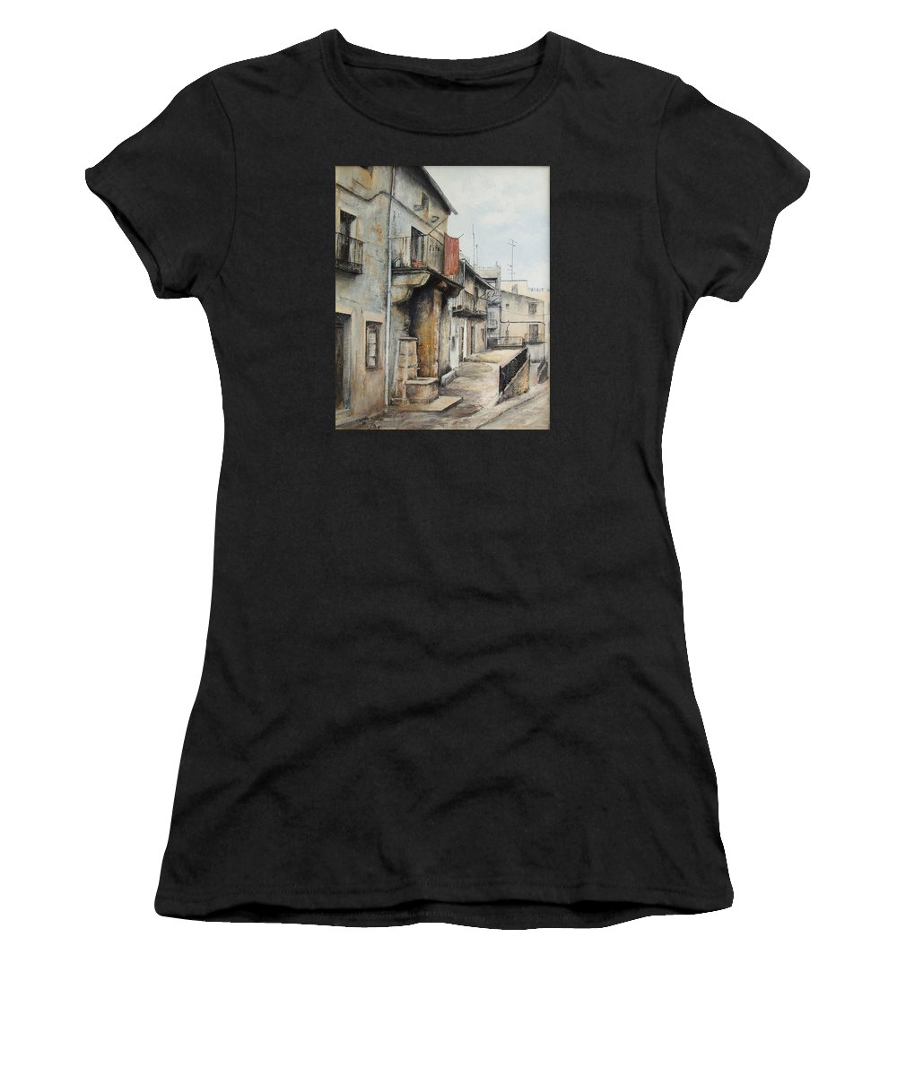 Fermoselle Zamora Spain Oil Painting City Scapes Urban Art Women's T-Shirt (Athletic Fit) featuring the painting Fermoselle by Tomas Castano