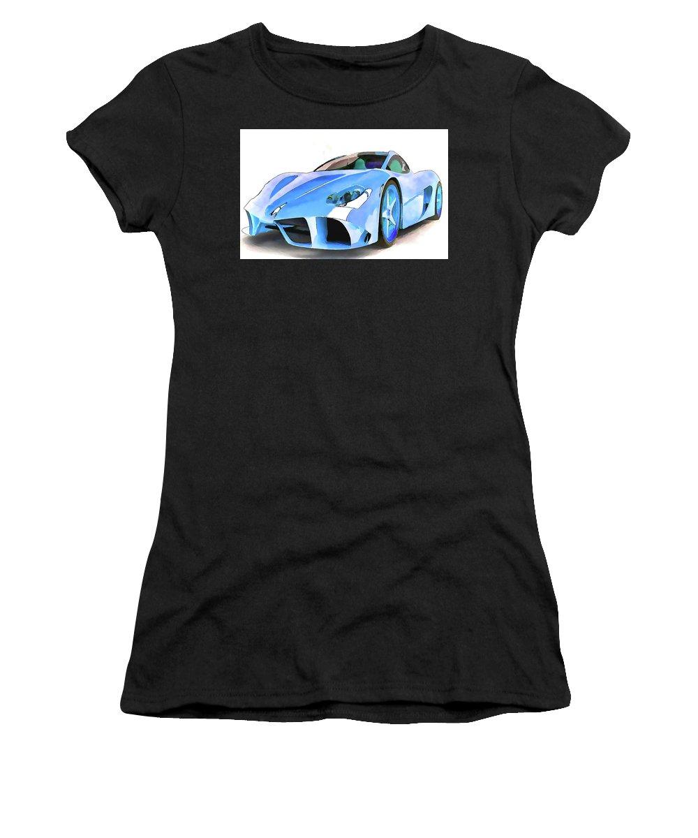 Ferrari Women's T-Shirt (Athletic Fit) featuring the painting Ferrari 2 by Jeelan Clark