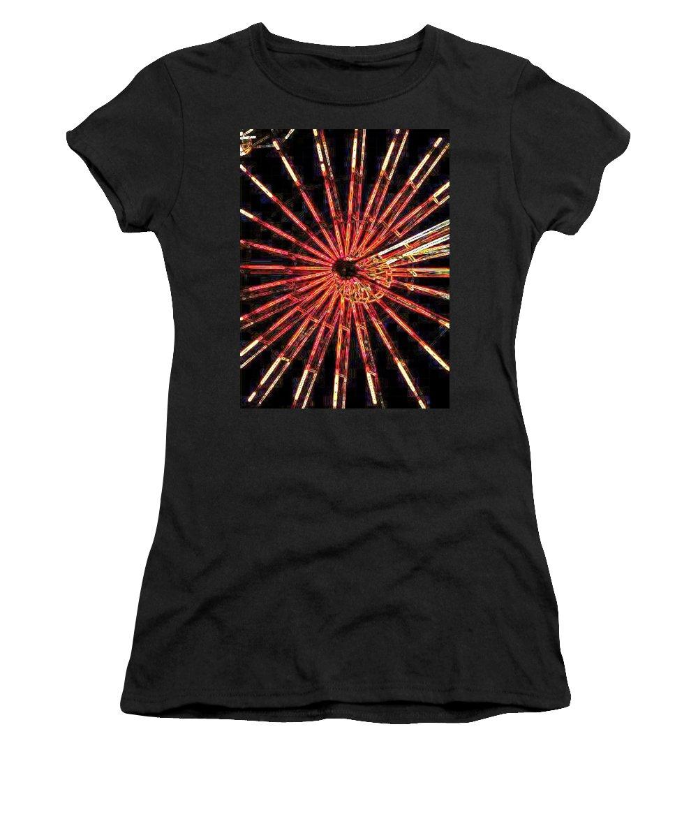 Ferris Wheel Women's T-Shirt (Athletic Fit) featuring the digital art Ferris Wheel by Tim Allen