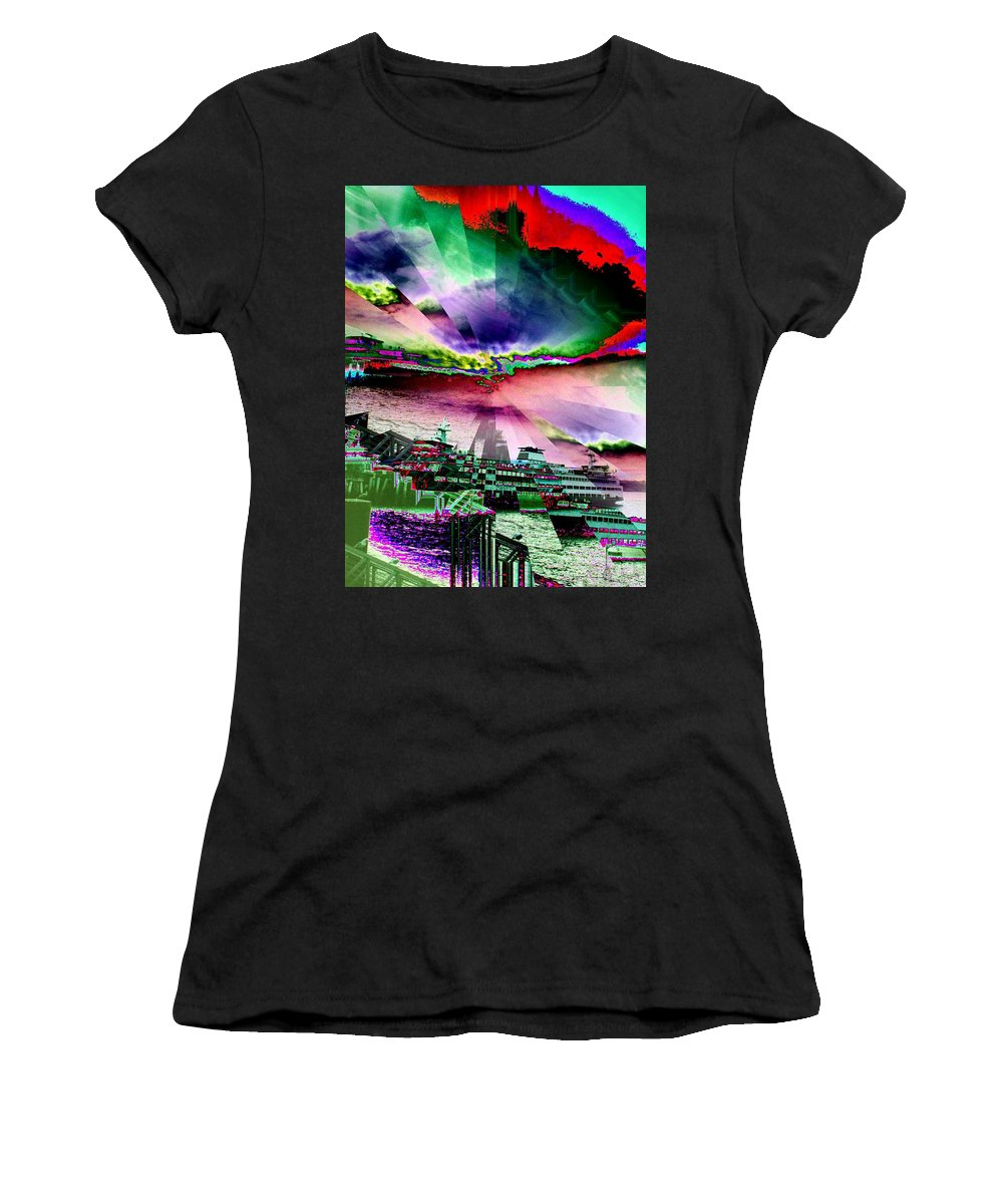 Seattle Women's T-Shirt (Athletic Fit) featuring the digital art Ferry Illusion by Tim Allen