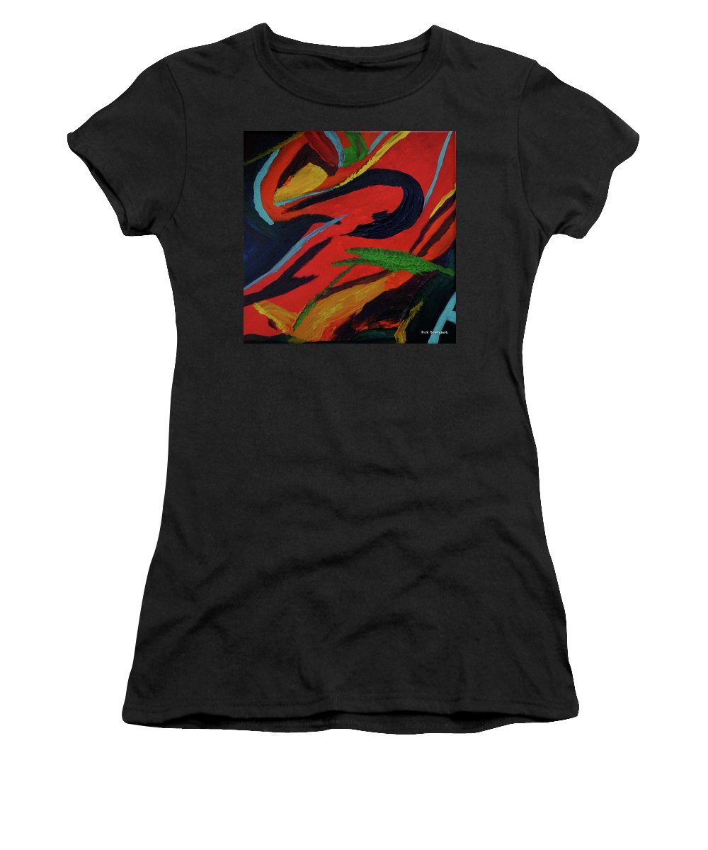 Colorful Women's T-Shirt featuring the painting Festiva by Dick Bourgault