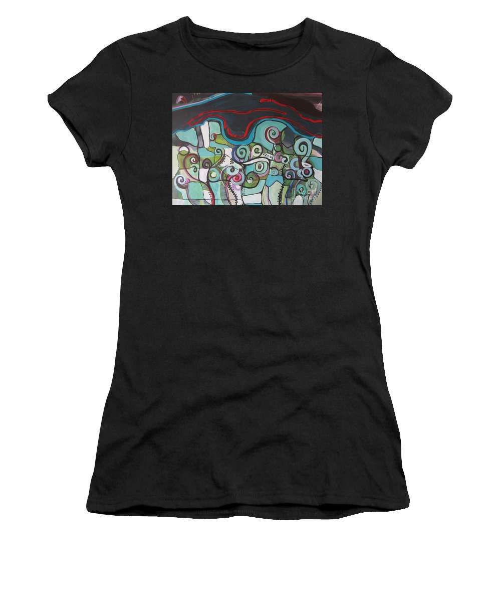 Fiddleheads Paintings Women's T-Shirt (Athletic Fit) featuring the painting Fiddleheads 5 by Seon-Jeong Kim