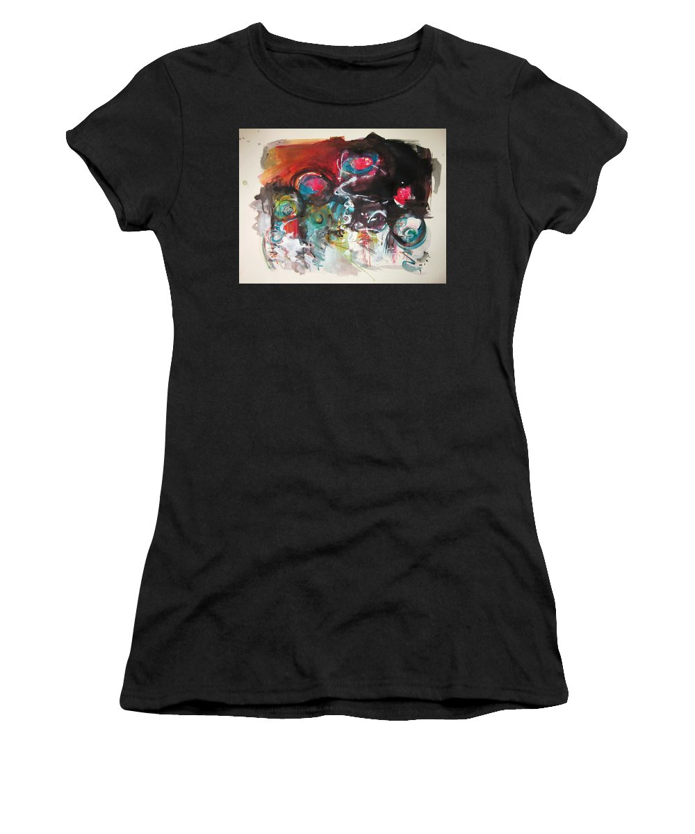 Fiddleheads Paintings Women's T-Shirt (Athletic Fit) featuring the painting Fiddleheads- Landscape Painting For Sale Red Blue Green by Seon-Jeong Kim