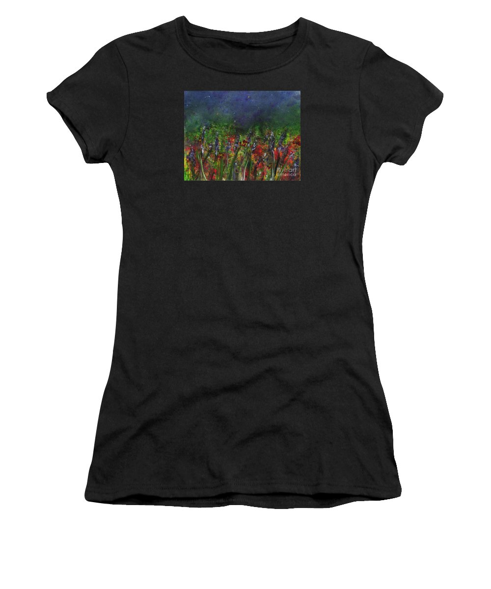 Flowers Women's T-Shirt (Athletic Fit) featuring the painting Field Of Flowers by Lynn Quinn