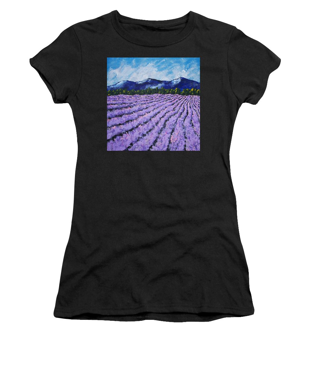 Art & Collectibles Painting Acrylic Provence France Mediterranean Art French Countryside Landscape Painting Lavender Fields Mountain Scenery Hillside Painting Tree Artwork Purple Home Decor Modern Green Design Yellow Artwork Blue Modern Design Framed Art Women's T-Shirt (Athletic Fit) featuring the painting Field Of Lavender by Mike Kraus