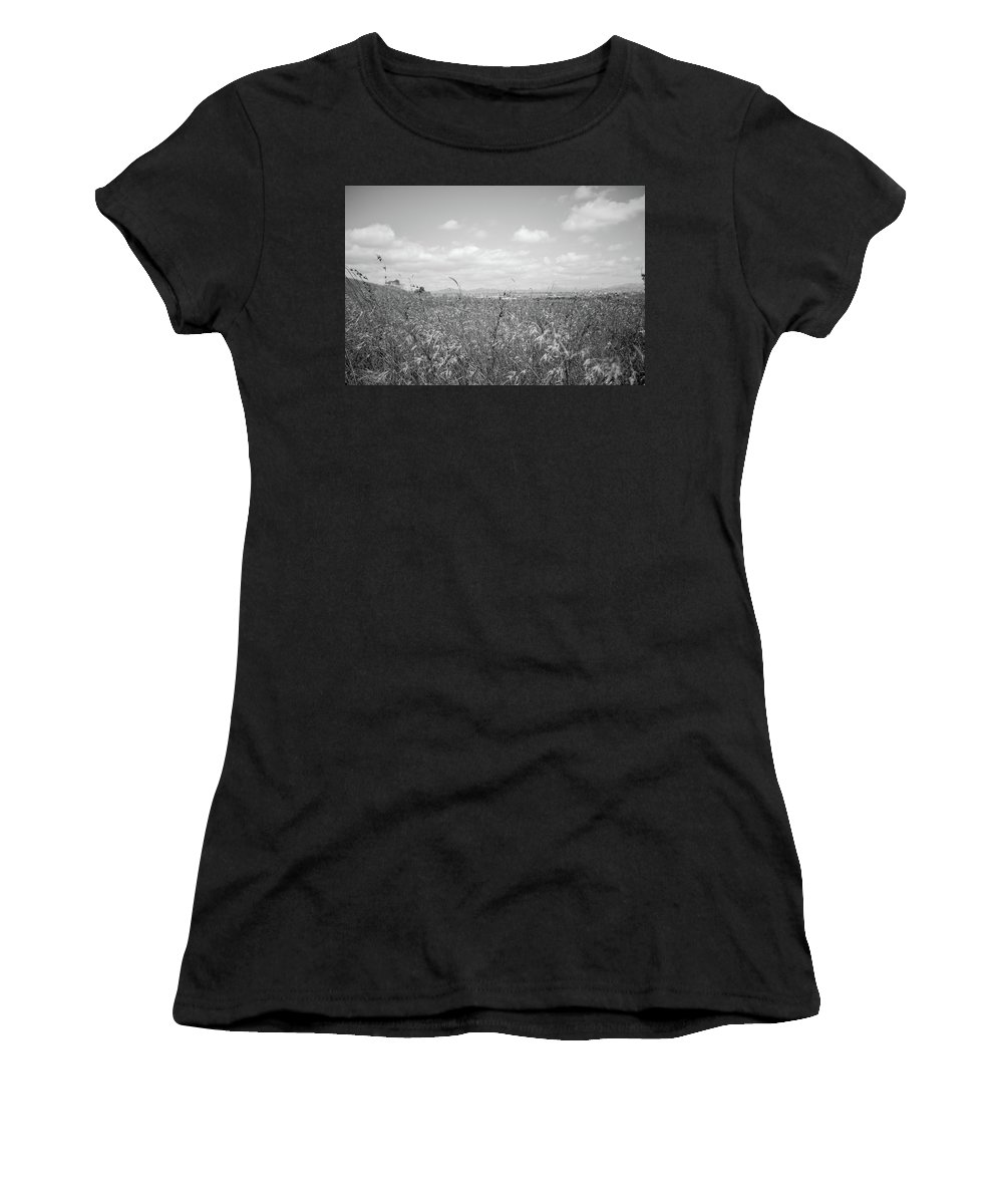 Black And White Women's T-Shirt (Athletic Fit) featuring the photograph Field Of Wheat by Nathaniel H Broughton