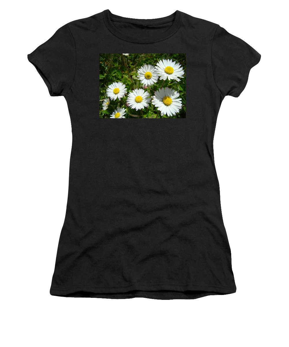 Daisy Women's T-Shirt (Athletic Fit) featuring the photograph Field Of White Daisy Flowers Art Prints Summer by Baslee Troutman