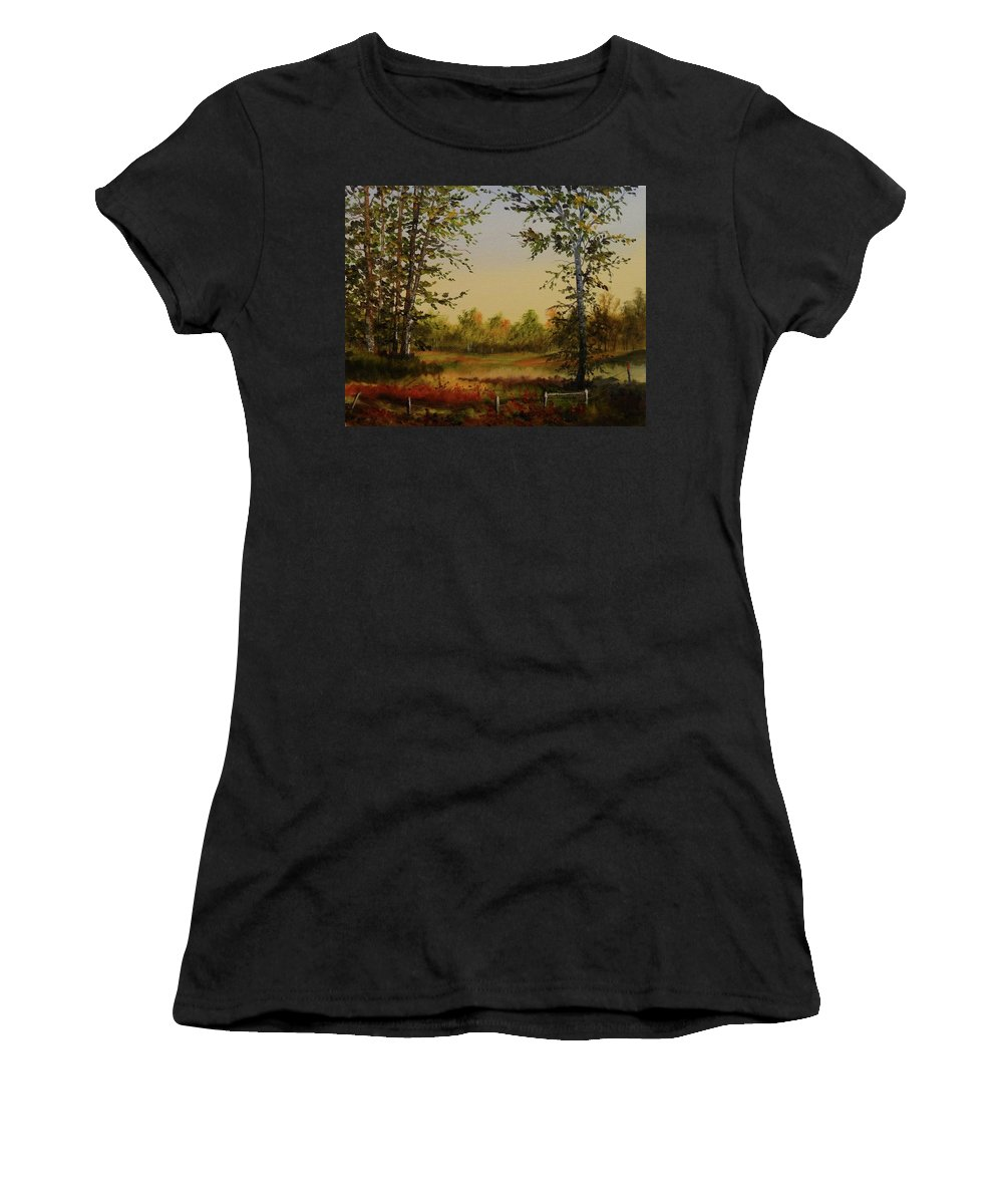 Judy Bradley Women's T-Shirt (Athletic Fit) featuring the painting Fields And Trees by Judy Bradley