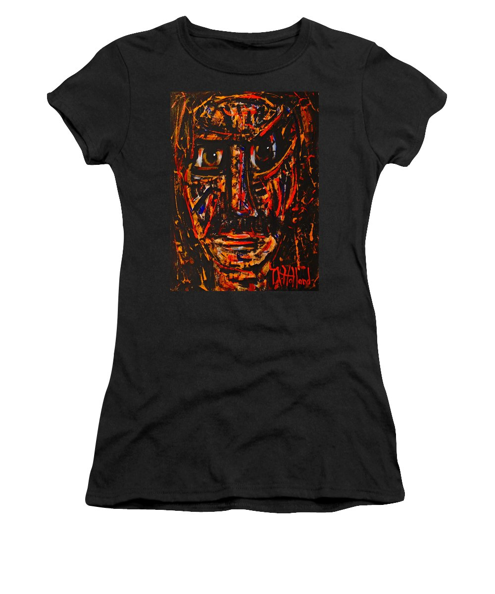 Expressionism Women's T-Shirt (Athletic Fit) featuring the painting Fierce Warrior by Natalie Holland