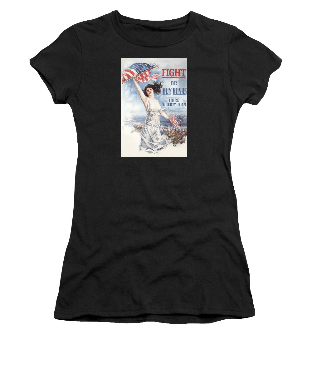 Lady Liberty Women's T-Shirt (Athletic Fit) featuring the painting Fight Or Buy Bonds by War Is Hell Store