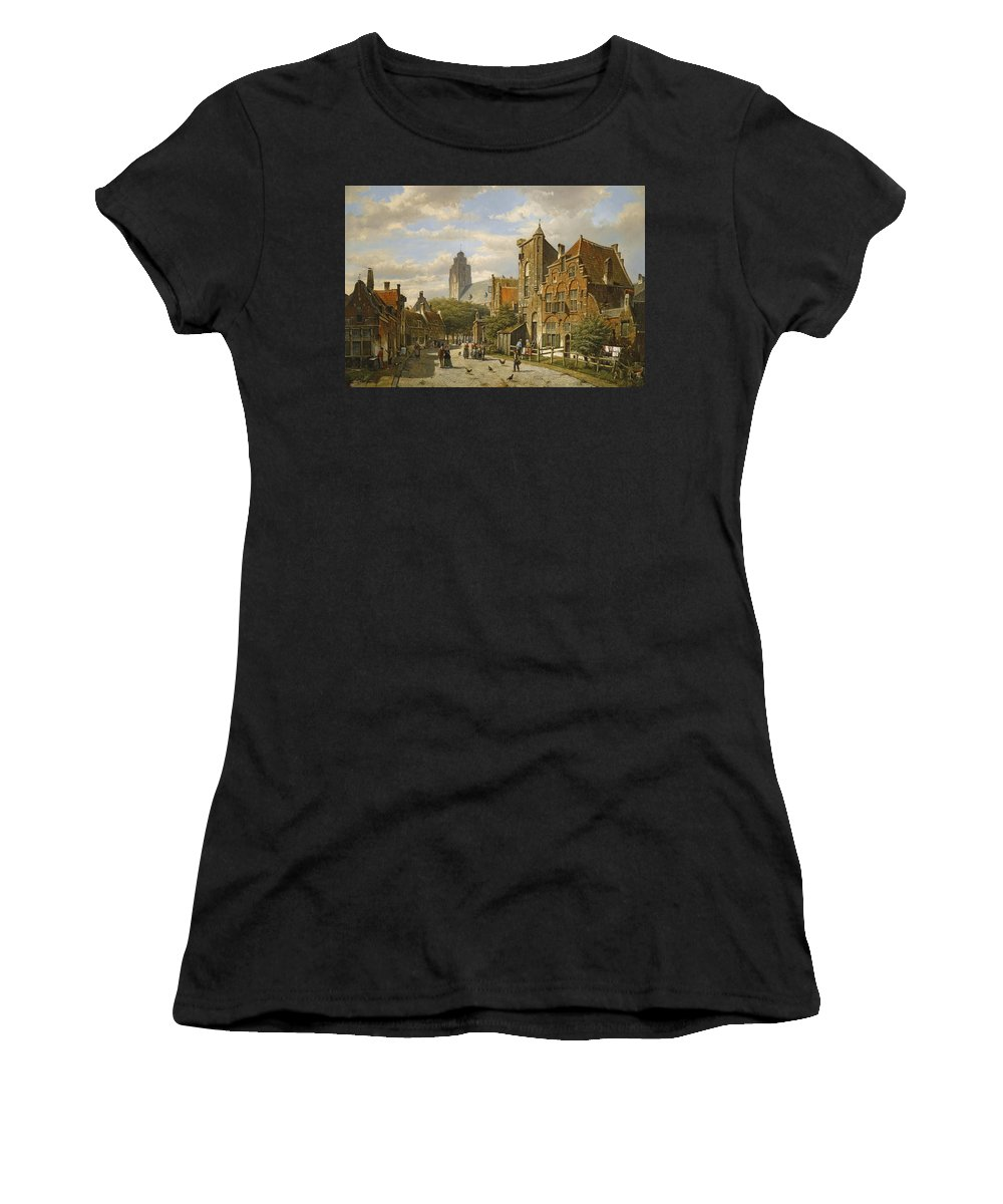 Willem Koekkoek Women's T-Shirt (Athletic Fit) featuring the painting Figures In The Streets Of A Wintry Dutch Town by Willem Koekkoek