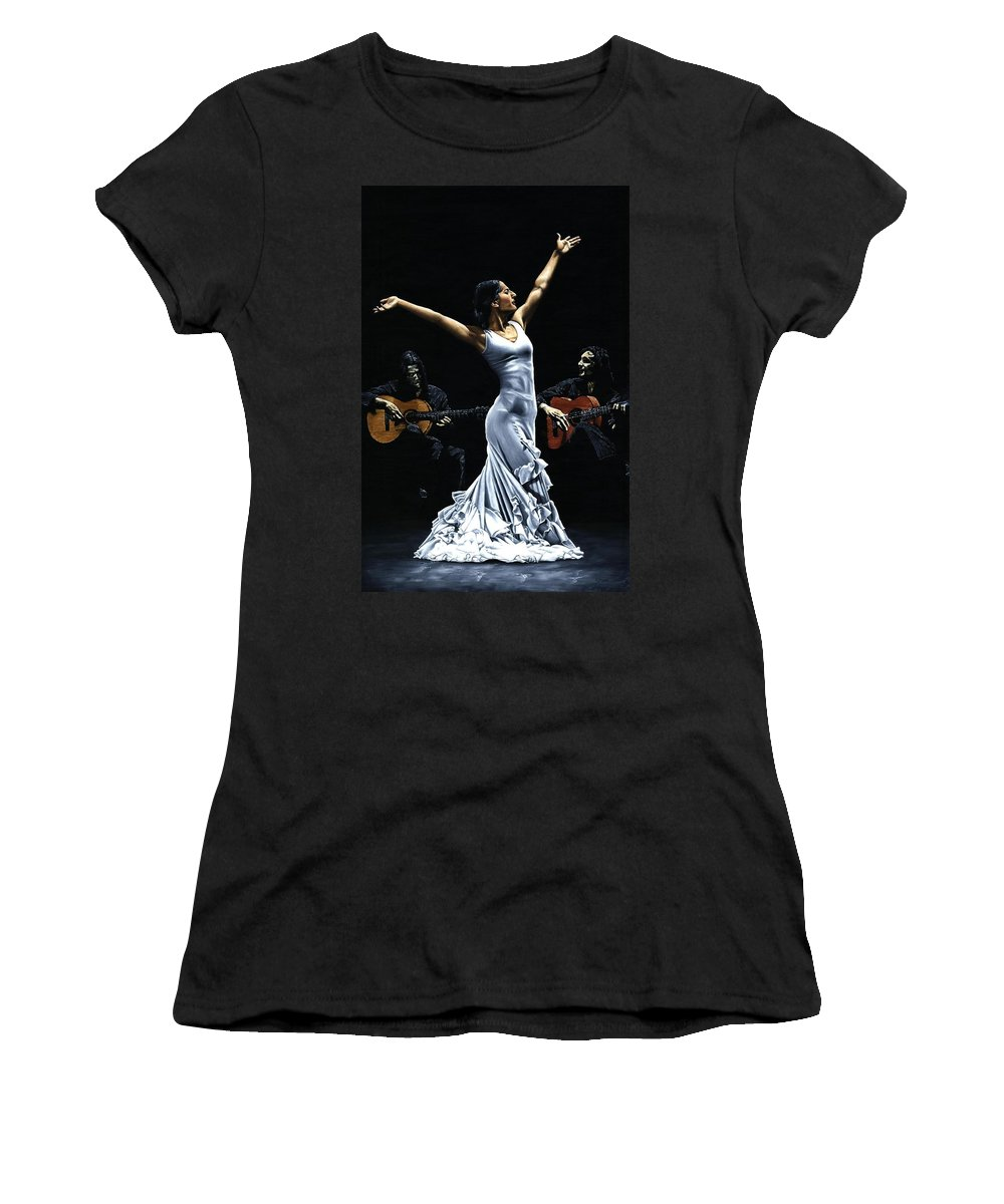 Flamenco Women's T-Shirt (Athletic Fit) featuring the painting Finale Del Funcionamiento Del Flamenco by Richard Young