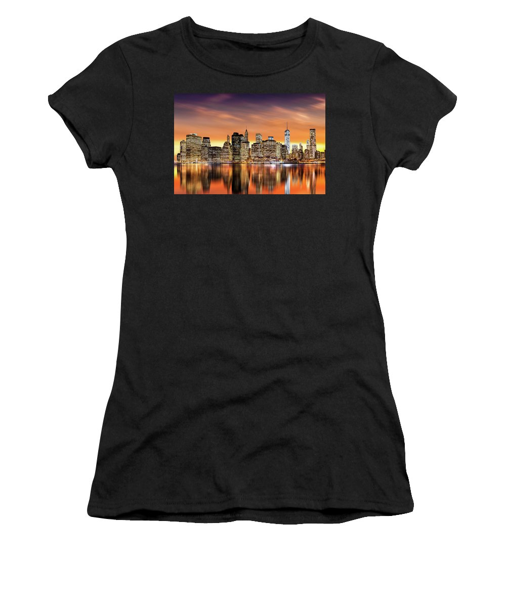Brooklyn Women's T-Shirt (Athletic Fit) featuring the photograph Financial District Sunset by Mihai Andritoiu