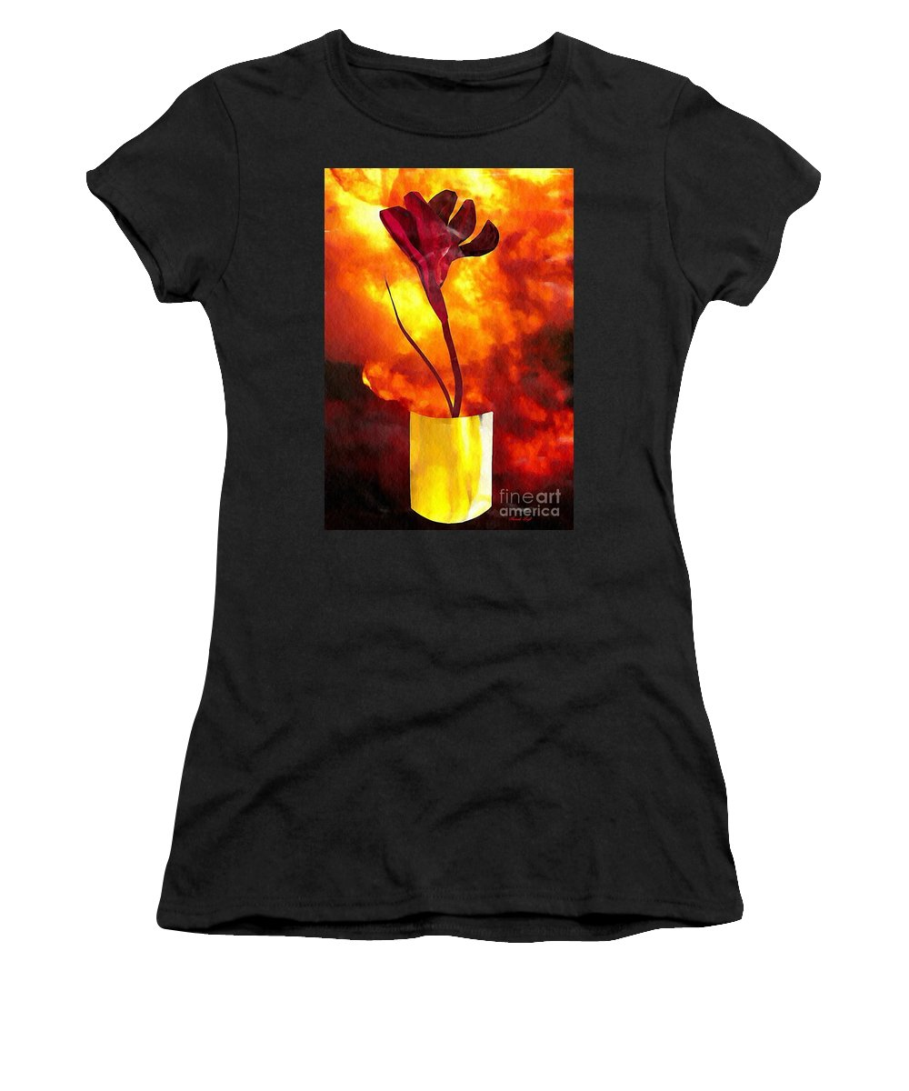 Floral Women's T-Shirt featuring the mixed media Fire And Flower by Sarah Loft