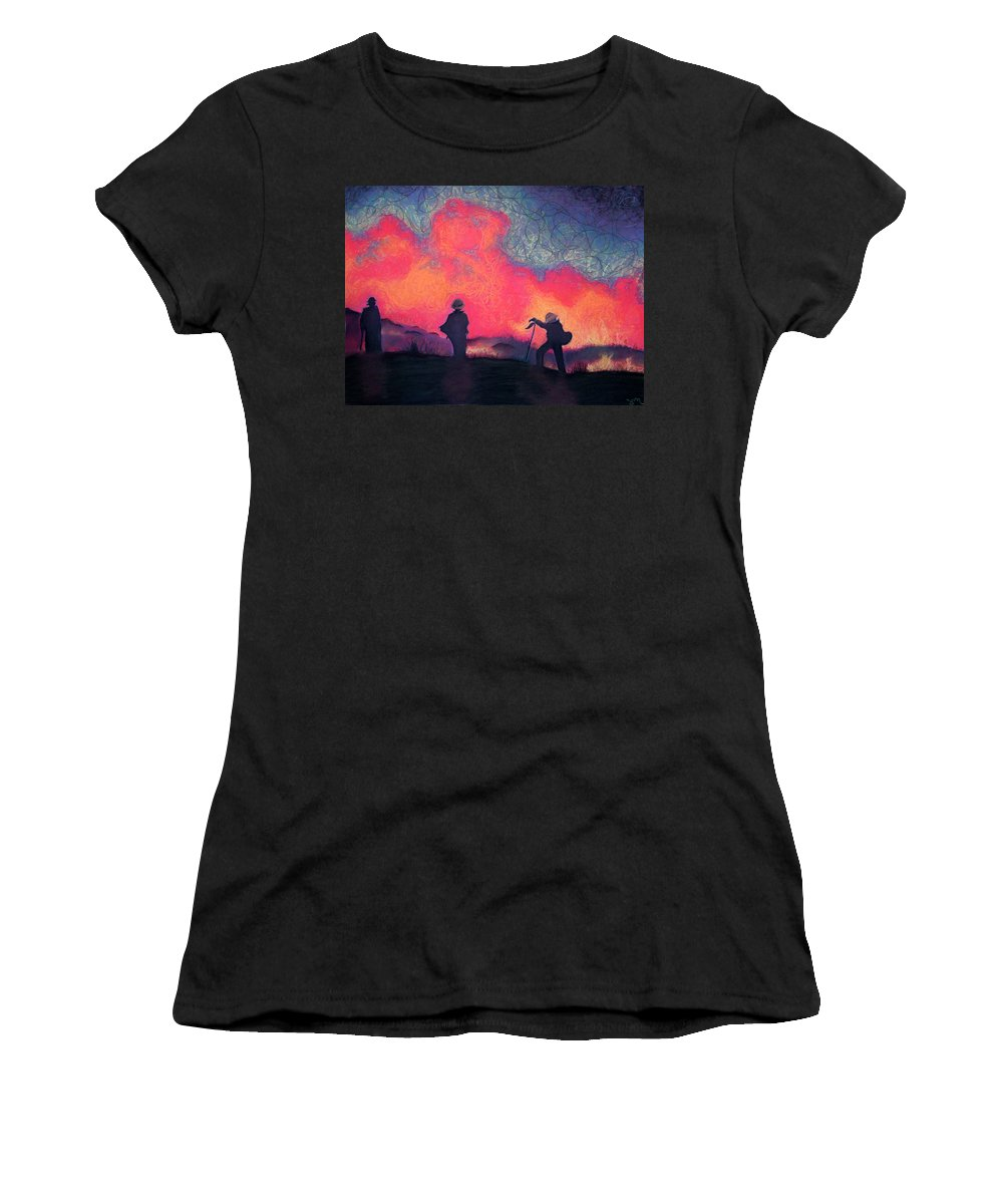 Fire Crews Women's T-Shirt (Athletic Fit) featuring the drawing Fire Crew by Joshua Morton