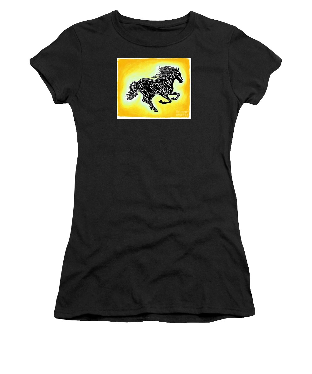 Horses Women's T-Shirt featuring the painting Fire Horse 3 by Peter Paul Lividini