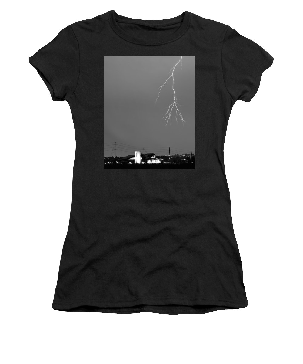 Lightning Women's T-Shirt featuring the photograph Fire Rescue Station 67 Lightning Thunderstorm 2c Bw by James BO Insogna