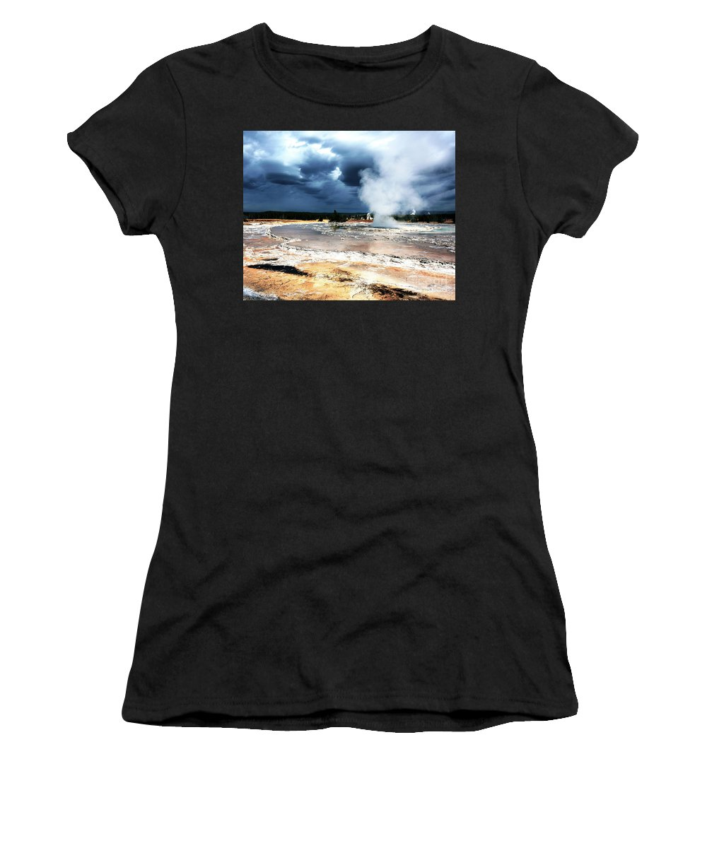 Natanson Women's T-Shirt (Athletic Fit) featuring the photograph Firehole Lake 2 by Steven Natanson
