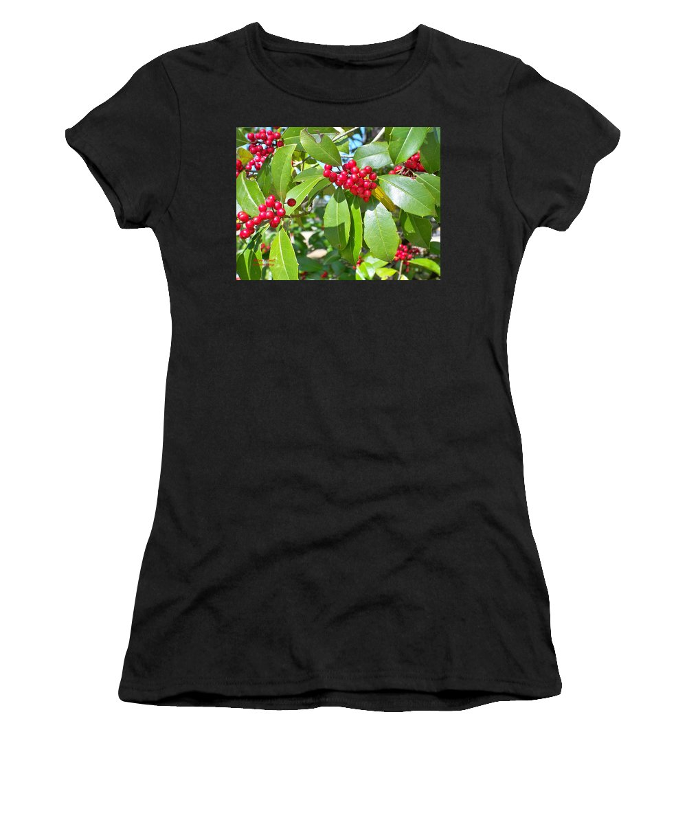 Trees Women's T-Shirt featuring the photograph Firethorn Tree by Maxine Billings