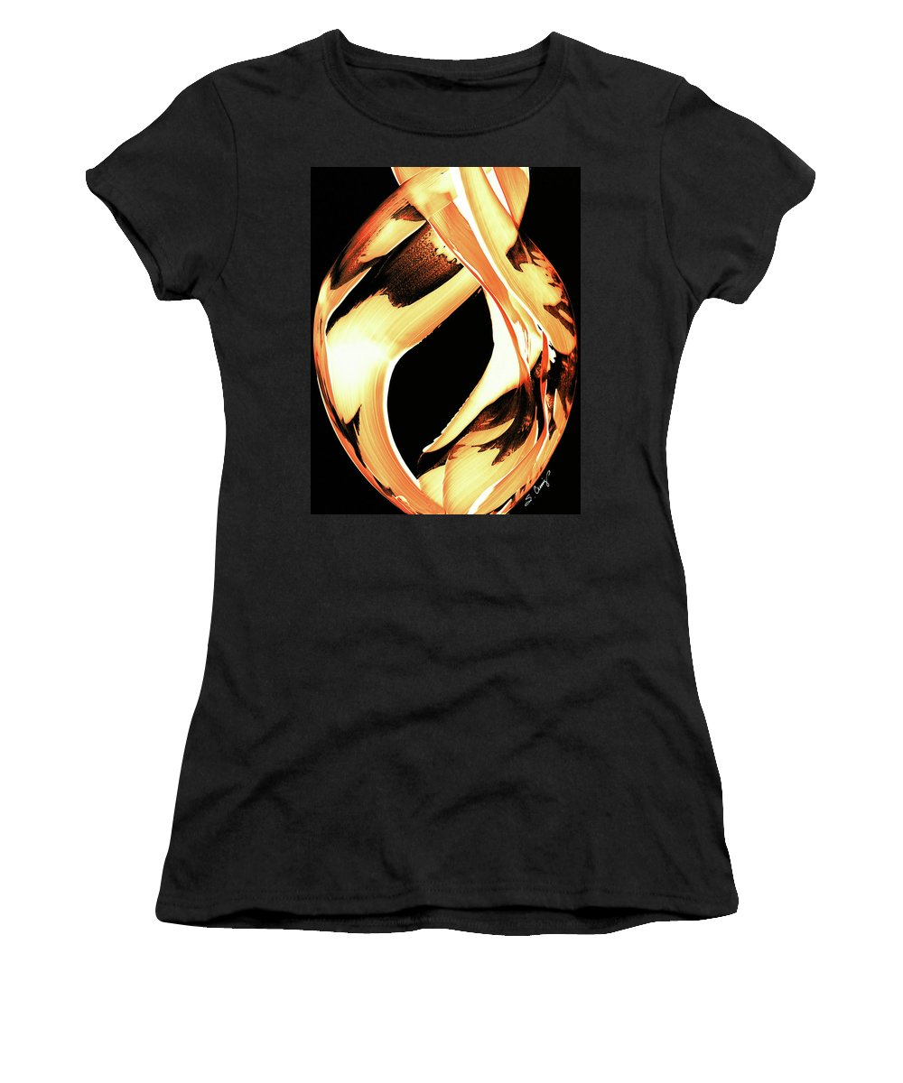 Fire Women's T-Shirt featuring the painting Firewater 1 - Buy Orange Fire Art Prints by Sharon Cummings